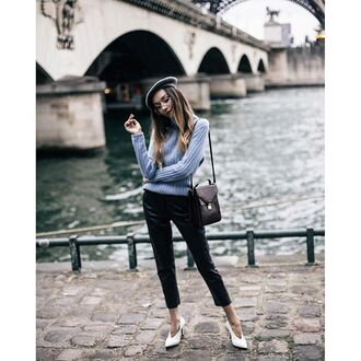 sweater tumblr grey sweater bag black bag pants black pants black leather pants leather pants cropped pants capri pants shoes white shoes hat parisian chic french girl style