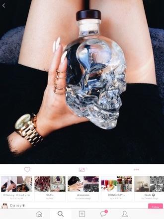 home accessory glass bottle skull glass bottle skull