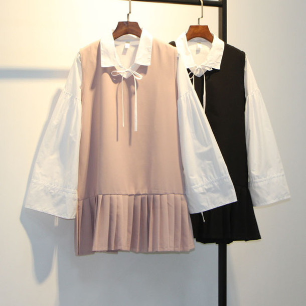 Dress Korean Fashion Vintage Retro Pink Blouse Blouson Long Sleeve Dress Kpop Kfashion