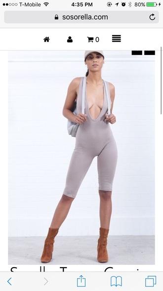 jumpsuit nude khaki bodycon bodysuit halter top halter neck beige deep v