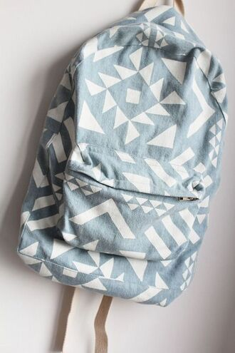 bag backpack school bag tribal pattern grey denim backpack summer accessories pastel bag aztec blue bag white blue printed backpack shapes pattern hipster jeans denim blue and white denim bag bookbag back to school cute bag book light blue accessories blue aztec backpack