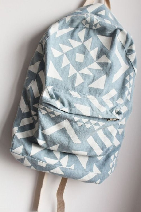 bag backpack school bag tribal pattern grey denim backpack summer accessories pastel bag aztec blue bag backpack white blue printed backpack shapes pattern hipster jeans pattern denim blue and white denim bag bookbag back to school cute bag book light blue accessories blue aztec backpack
