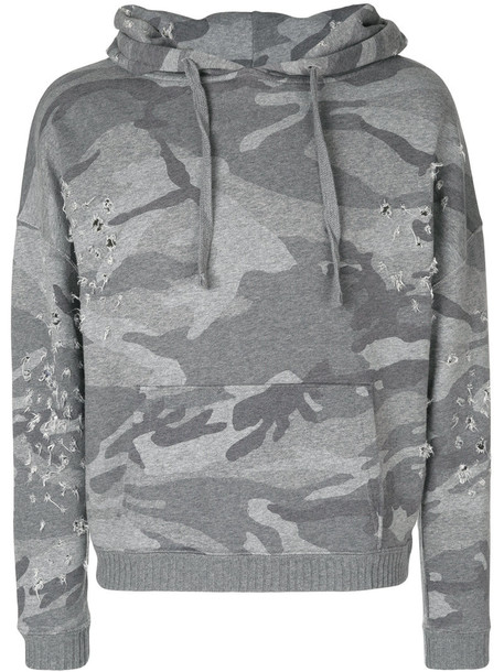 Iro - camouflage print hoodie - women - Cotton - XS, Grey, Cotton