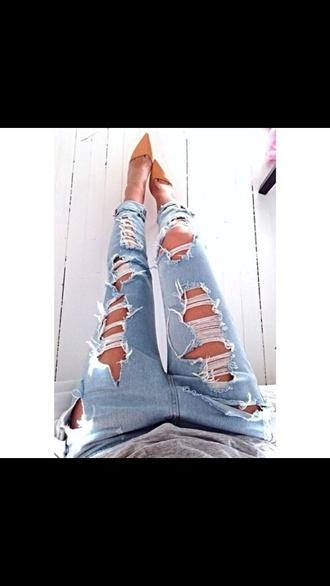 jeans cut jeans high heels shoes ripped heels faded denim blue cool women boyfriend jeans pants