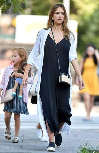 dress slit dress jessica alba streetstyle flats midi dress