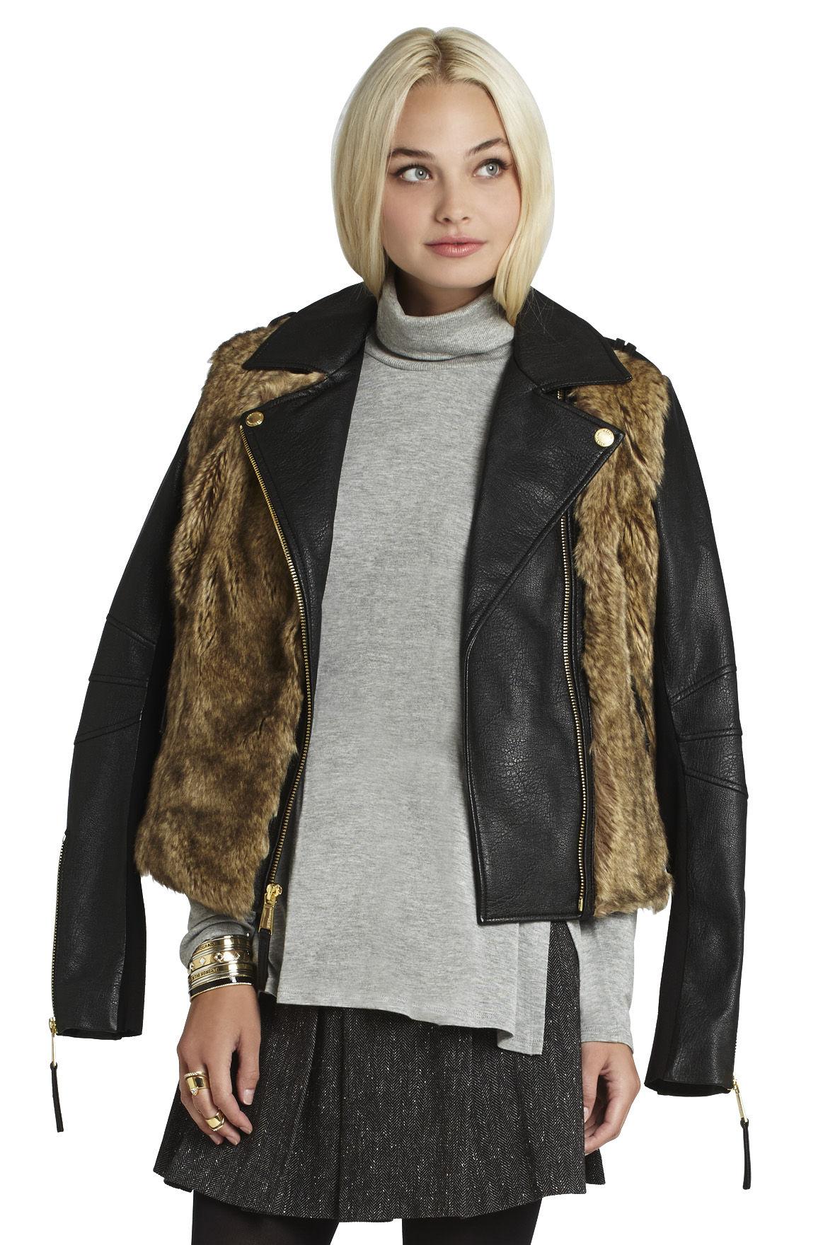 Faux-Fur Moto Jacket
