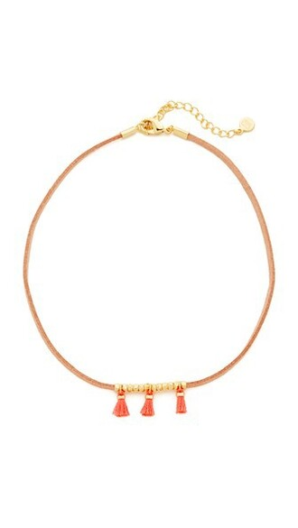tassel necklace choker necklace tan gold coral jewels