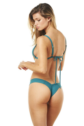 swimwear bikini bottoms cheeky green montce swim ruched bikini skimpy teal