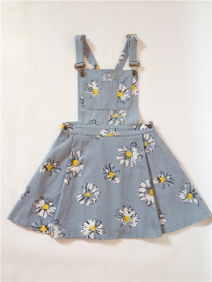 original tumblr patterned indie dress hippy pinafore dress daisy blue dress cute dress stylish sunflower daises overalls denim overall dress overall dress, dress, floral, floral print, dress, overall floral denim overalls