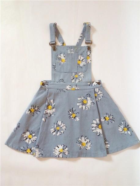 Dress Sunflower Daises Overalls Denim Overall Dress