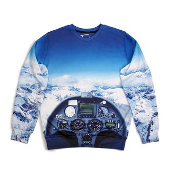 sweater printed sweater sweatshirt print sky cockpit cockpit view mountaints crewneck fusion sdasd