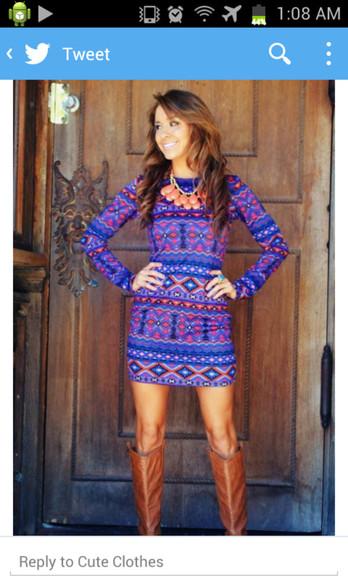 aztec long sleeves long sleeve dress fitted dress patterned dress pattern