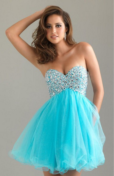 sparkly blue homecoming dress