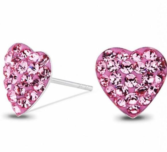 jewels heart pink girly earrings swarovski studs