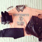 sweater,paris,light pink,brown,black,collar