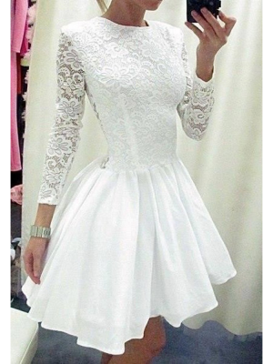 Buy New Arrival Fascinating White Lace A-line Round Neckline Long Sleeves Mini Graduation Dress/ Prom Dress under 200-SinoAnt.com