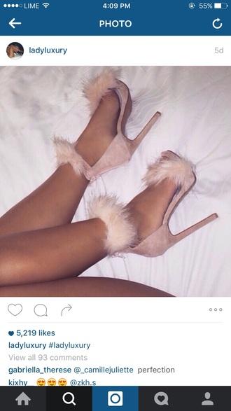 shoes fur heels high heels pink sandals