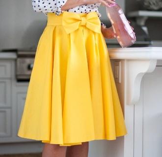 skirt yellow bow sunny