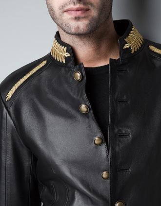 jacket leather jacket gold leaves fancy zara