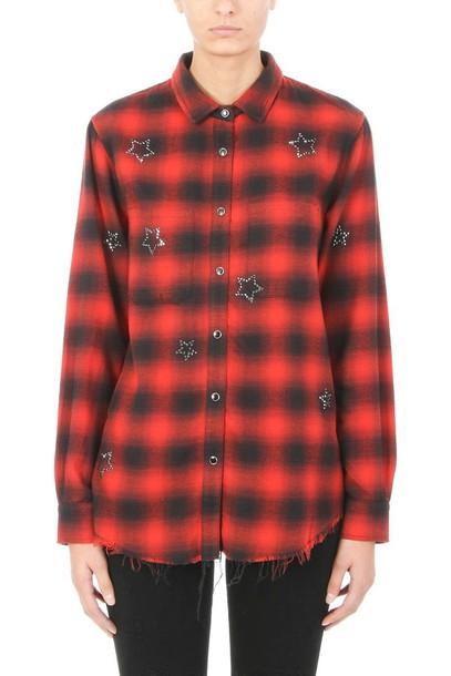 Amiri shirt black shirt black wool flannel red top