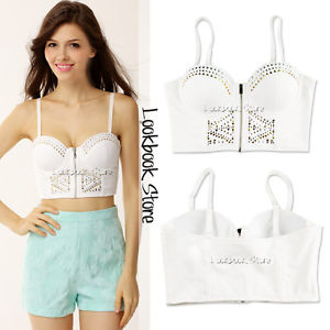 Women White Studded Sweetheart Neckline Zip Closure Padded Cup Crop Bustier Top | eBay