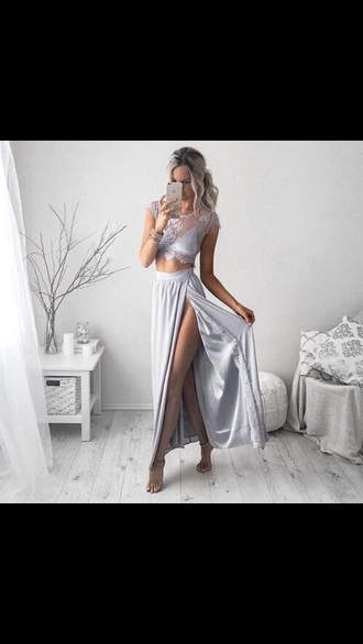 dress silver white pretty beautiful shirt skirt long summer outfit want love flowy lace crop tops cute