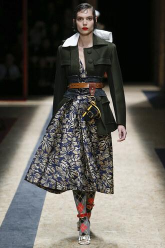 skirt jacket midi skirt prada fashion week 2016 milan fashion week 2016 belt fall outfits coat runway