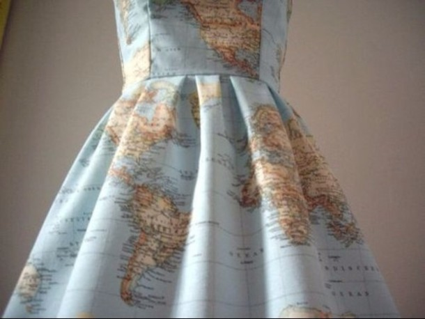 Dress: vintage, blue dress, world, map, tumblr, globe, blue, tan ...