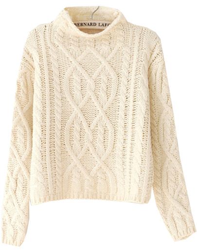 Beige high neck crop cable knit sweater