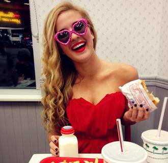 dress shirt sunglasses red blouse red dress pink sunglasses