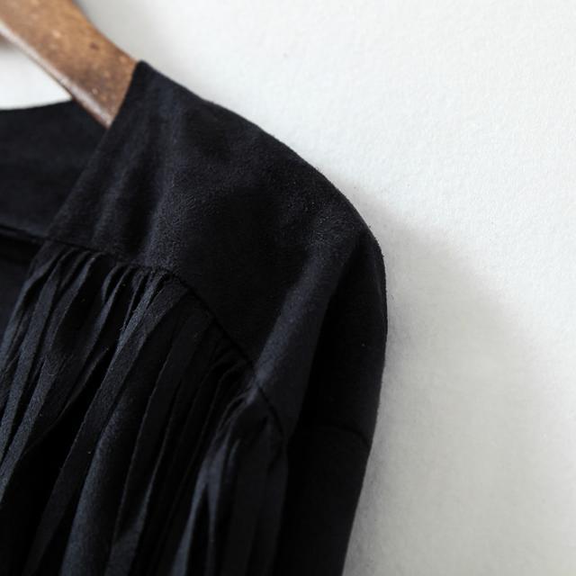 Chaqueta crop flecos manga larga-negro