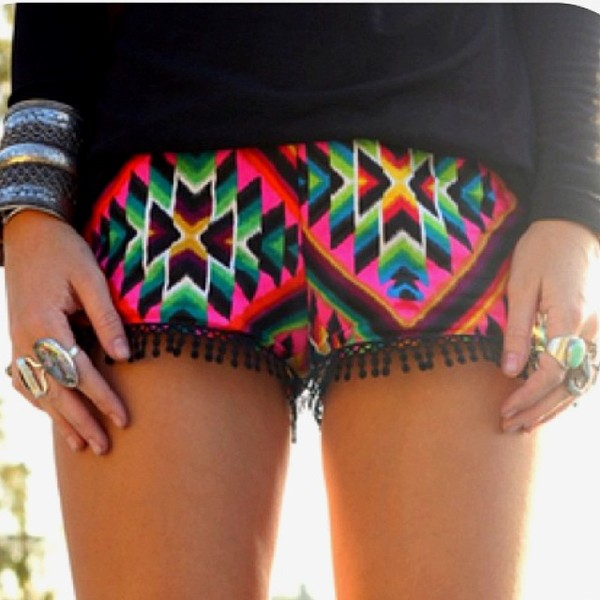 shorts printed shorts aztec print fringes pink green blue pom poms mexican summer