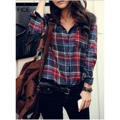 shirt,flannel shirt,cool girl style,cute,blouse,plaid,skirt,red and blue