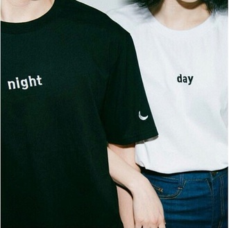 t-shirt black white day night moon sun shirt cool stylish casual trendy punk black and white korean fashion japan japanese japanese fashion korean style aesthetic tumblr couple sweaters couple couples shirts harajuku grunge