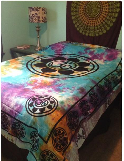 home accessory tye dye  comforter black and colorfu bedding tie dye