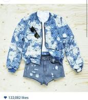 jacket,sky,bomber jacket,cute,blue,white