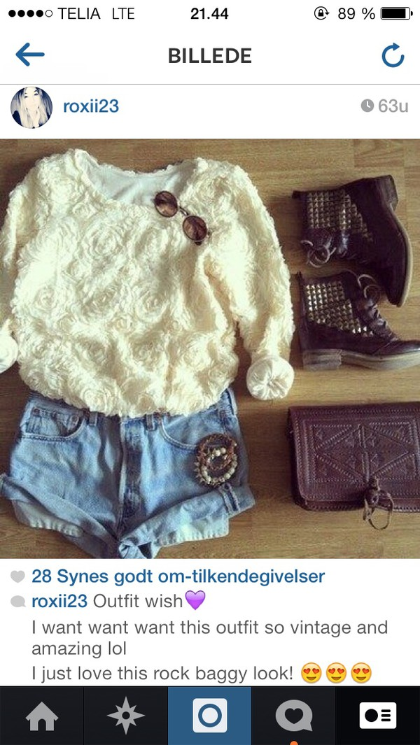top flowers studs outfit bag blouse denim shorts boots sunglasses bracelets shoes