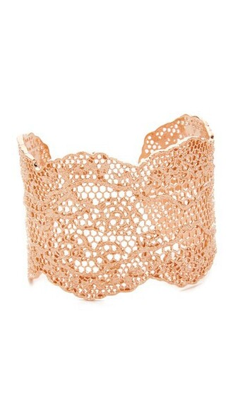 cuff vintage rose gold rose laser cut lace gold jewels