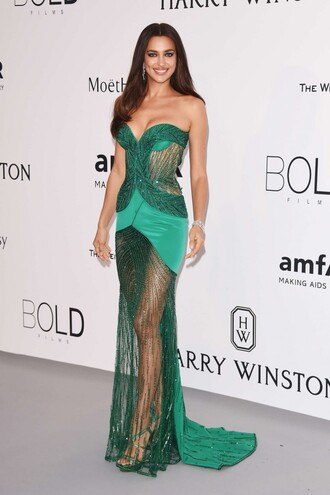 dress gown irina shayk cannes sheer prom dress bustier dress strapless