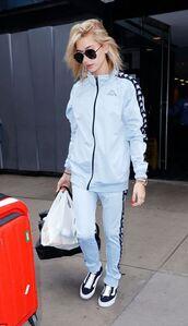 pants,sweatshirt,sweatpants,hailey baldwin,sneakers,streetstyle,model off-duty,jacket