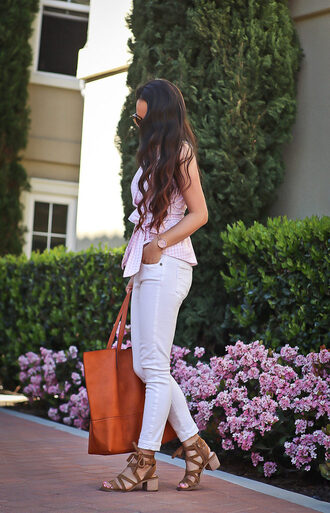 stylish petite blogger shoes jewels make-up nail polish dress pants tumblr white jeans denim jeans top pink top stripes striped top peplum top bag brown bag sandals mid heel sandals spring outfits