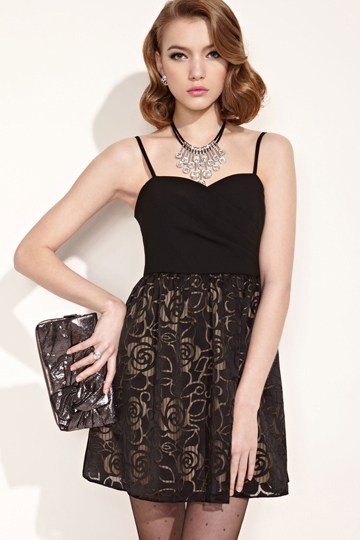 Moonbasa Attractive Rose Hatler Neck Dress [FXBI00430] - PersunMall.com