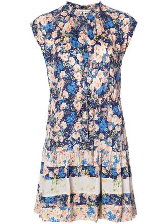 dress print dress women floral print blue silk