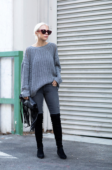 blogger fringes black boots always judging sunglasses knitwear