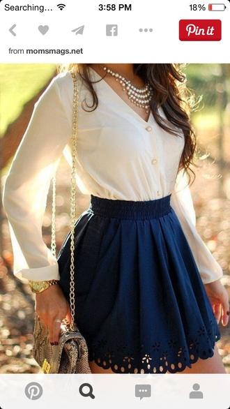 skirt blouse jewels bag