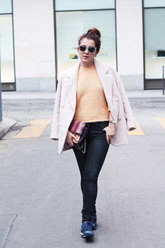 jeans jewels baby pink blogger coat bag sunglasses elodie in paris jumper