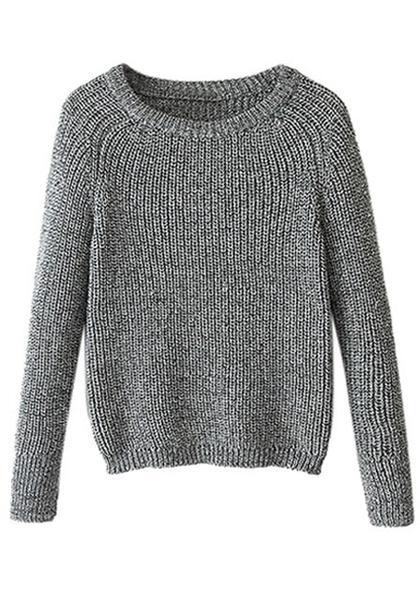 Grey Raglan Knit Sweater