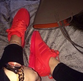shoes,red sneakers,streetwear,red,adidas shoes,all red,red adidas,adidas,sneakers,shorts,adidas zx flux,bright sneakers,low top sneakers