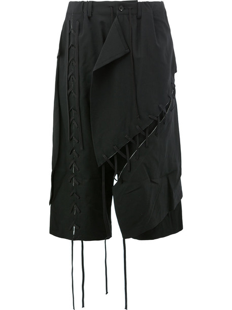 YOHJI YAMAMOTO cropped women embellished layered cotton black wool pants