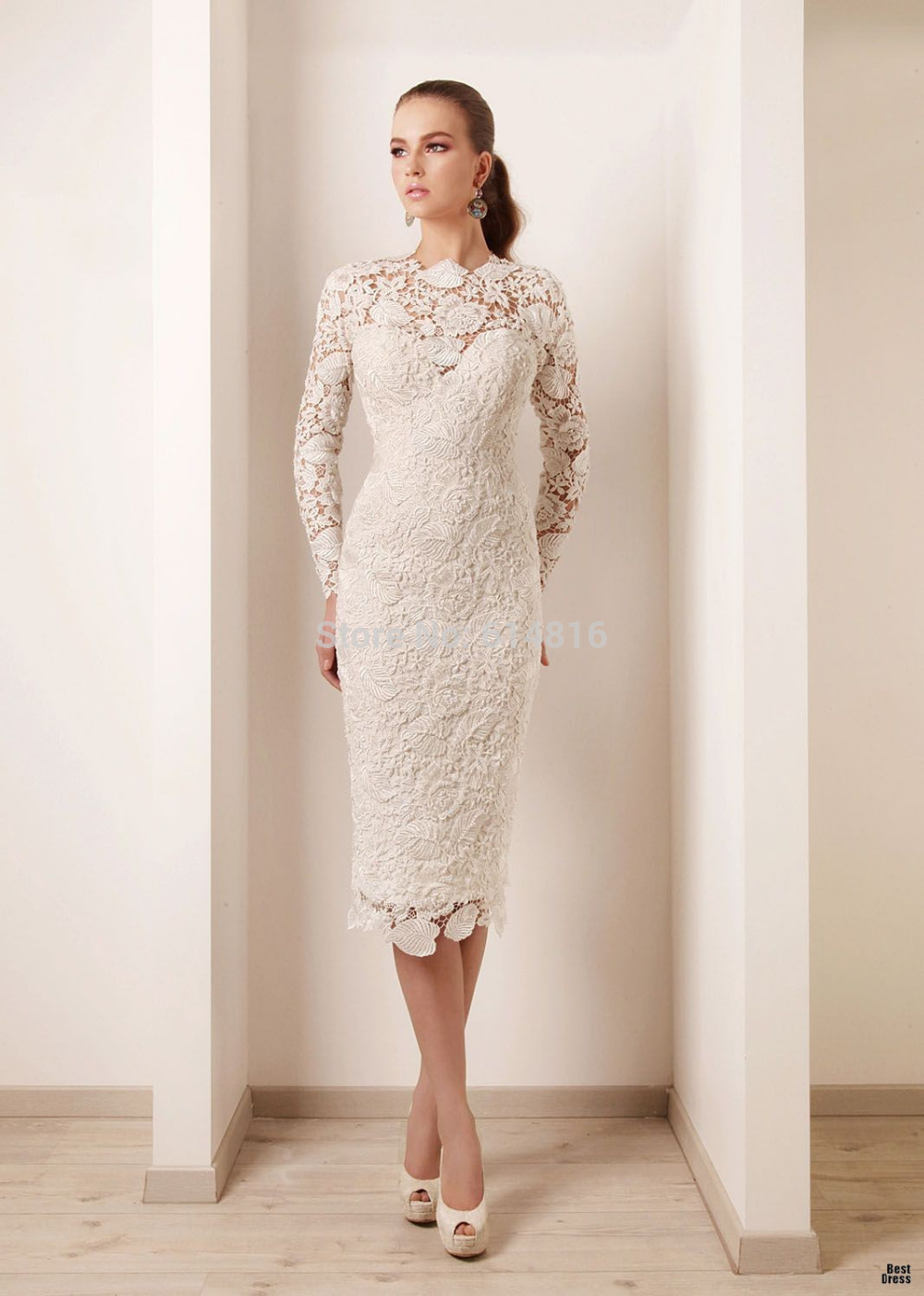 Short lace wedding dress shop for short lace wedding for Knee length wedding dresses with sleeves